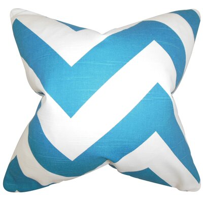 Eir Chevron Cotton Throw Pillow Color: Blue, Size: 22 x 22