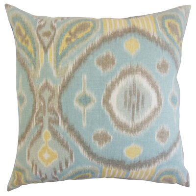 Janvier Ikat Linen Throw Pillow Color: Spa, Size: 22 x 22
