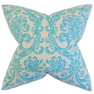 Saskia Damask Cotton Throw Pillow Color: Mandarin Blue, Size: 18 x 18