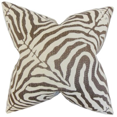 Oluchi Zebra Print Throw Pillow Color: Cocoa, Size: 18 x 18
