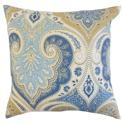 Kirrily Damask Linen Throw Pillow Color: Delta, Size: 22 x 22