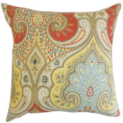 Kirrily Damask Linen Throw Pillow Color: Festival, Size: 18 x 18