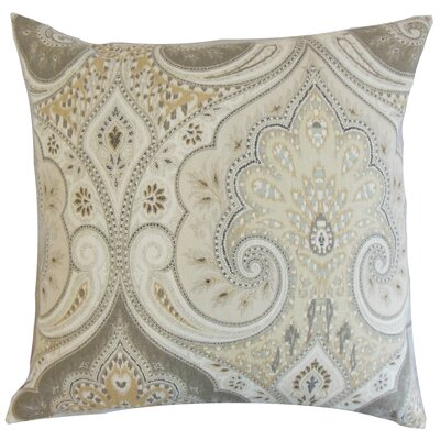 Kirrily Damask Linen Throw Pillow Color: Limestone, Size: 18 x 18
