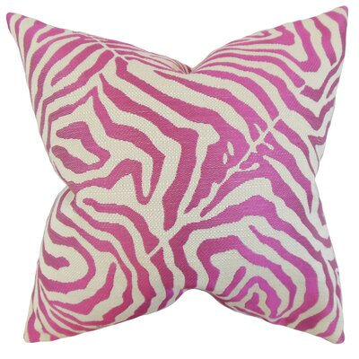 Oluchi Zebra Print Throw Pillow Color: Shocking Pink, Size: 18 x 18