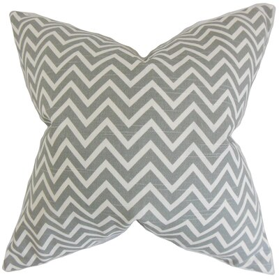 Sula Zigzag Cotton Throw Pillow Color: Ash, Size: 18 x 18