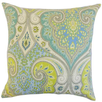 Kirrily Damask Linen Throw Pillow Color: Pool, Size: 18 x 18
