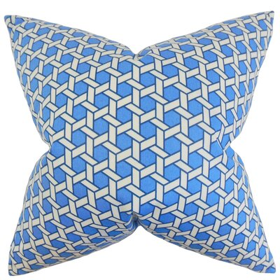 Destry Geometric Cotton Throw Pillow Color: Blue, Size: 18 x 18