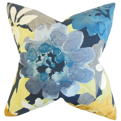 Penrose Floral Cotton Throw Pillow Color: Indigo, Size: 24 x 24