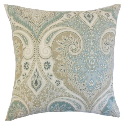 Kirrily Damask Linen Throw Pillow Color: Seafoam, Size: 24 x 24