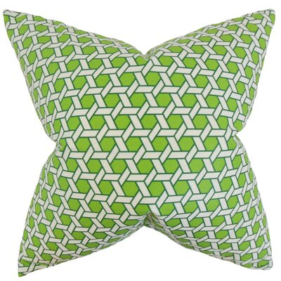 Destry Geometric Cotton Throw Pillow Color: Green, Size: 18 x 18