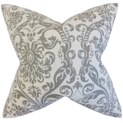 Saskia Damask Cotton Throw Pillow Color: Storm, Size: 18