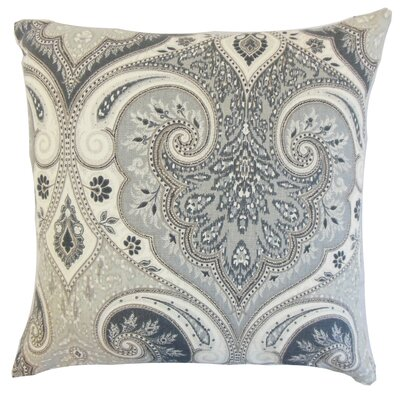 Kirrily Damask Linen Throw Pillow Color: Shadow, Size: 24