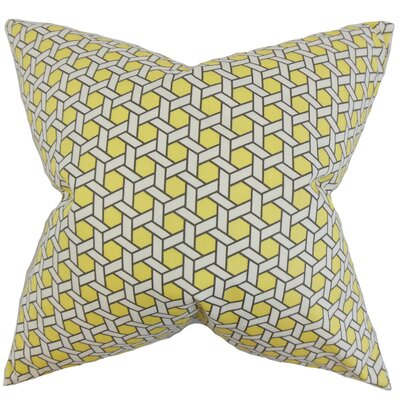 Destry Geometric Cotton Throw Pillow Color: Yellow, Size: 18 x 18