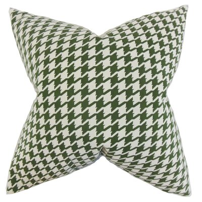 Presley Houndstooth Throw Pillow Color: Pine, Size: 24 x 24