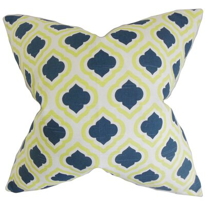 Camile Geometric Cotton Throw Pillow Color: Yellow Blue, Size: 22 x 22