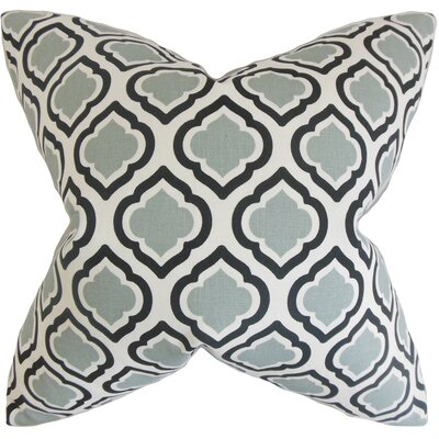 Abijah Geometric Cotton Throw Pillow Color: Grey, Size: 18 x 18