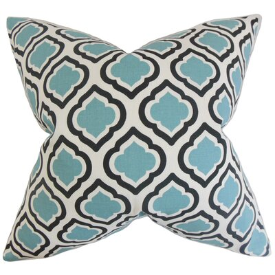 Camile Geometric Cotton Throw Pillow Color: Blue, Size: 18 x 18