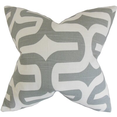 Eleonore Geometric Cotton Throw Pillow Size: 18 H x 18 W, Color: Ash Grey