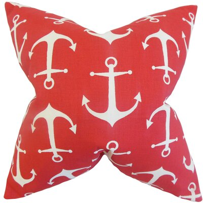 Coastal Cotton Throw Pillow Color: Red, Size: 18 x 18