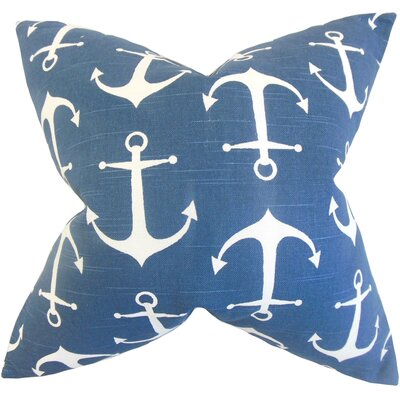 Coastal Cotton Throw Pillow Color: Blue, Size: 18 x 18