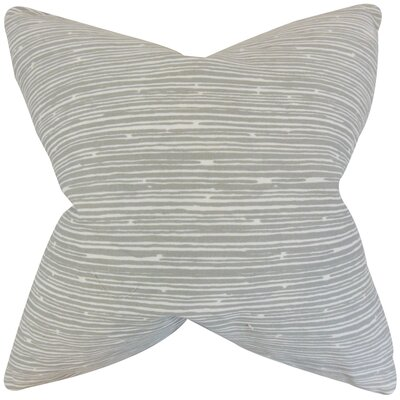 Hecuba Stripes Cotton Throw Pillow Color: Light Gray, Size: 24 x 24