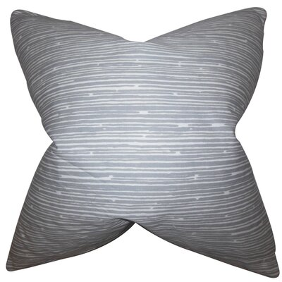 Hecuba Stripes Cotton Throw Pillow Color: Gray, Size: 18 x 18
