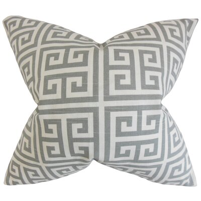 Kieffer Greek Key Bedding Sham Size: King, Color: Ash