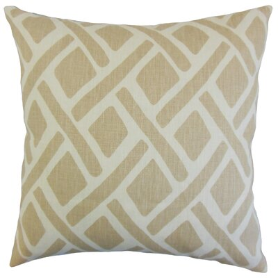 Satchel Geometric Bedding Sham Size: Queen, Color: Sand