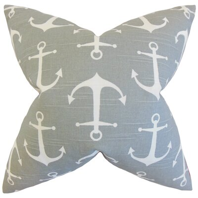 Coastal Cotton Throw Pillow Color: Gray, Size: 18 x 18