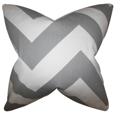 Eir Chevron Cotton Throw Pillow Color: Light Gray, Size: 18 x 18