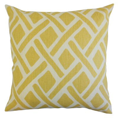 Satchel Geometric Bedding Sham Size: Queen, Color: Sunflower