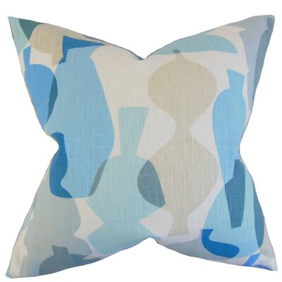 Orla Geometric Linen Throw Pillow Color: Surf, Size: 18 x 18