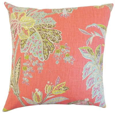 Taja Floral Linen Throw Pillow Color: Festival, Size: 18 x 18