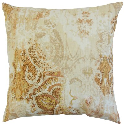 Havilah Floral Linen Throw Pillow Color: Amber, Size: 24 x 24