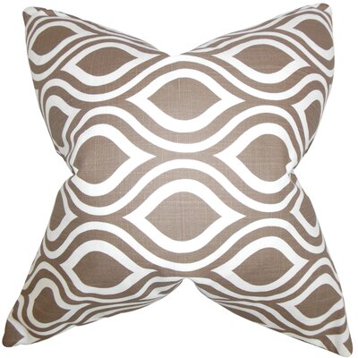 Poplar Geometric Cotton Throw Pillow Color: Italian Brown, Size: 18 x 18