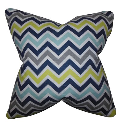 Howel Zigzag Cotton Throw Pillow Color: Green, Size: 18 x 18