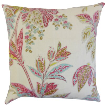 Taja Floral Linen Throw Pillow Color: Lotus, Size: 24 x 24