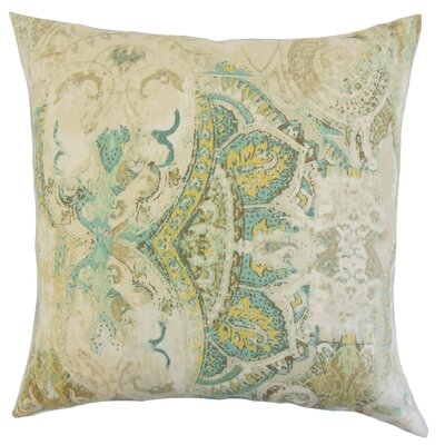 Havilah Floral Linen Throw Pillow Color: Seahorse, Size: 18 x 18