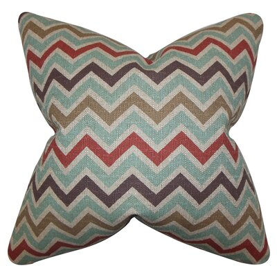 Howel Zigzag Cotton Throw Pillow Color: Blue, Size: 18 x 18