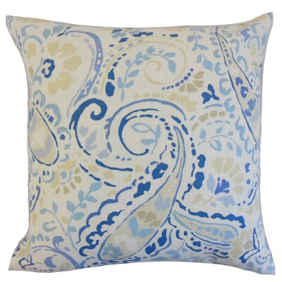 Robbia Floral Linen Throw Pillow Color: Ocean, Size: 24 x 24