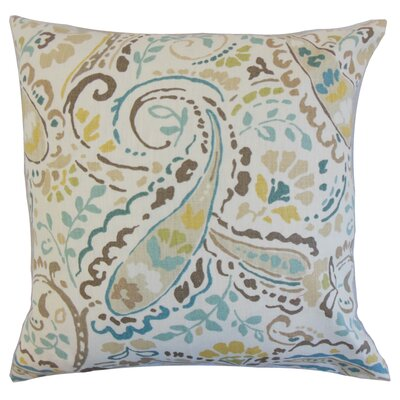Robbia Floral Linen Throw Pillow Color: Pool, Size: 18 x 18
