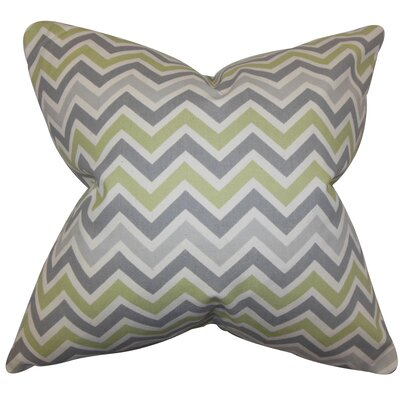 Howel Zigzag Cotton Throw Pillow Color: Reed Natural, Size: 18 x 18