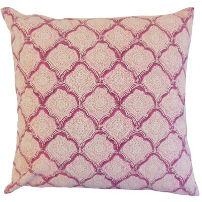 Padma Geometric Cotton Throw Pillow Color: Raspberry, Size: 18 x 18