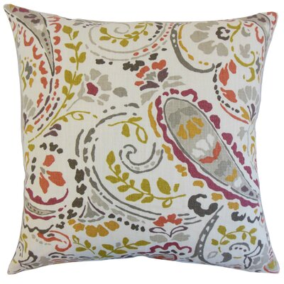 Robbia Floral Linen Throw Pillow Color: Quary, Size: 24 x 24