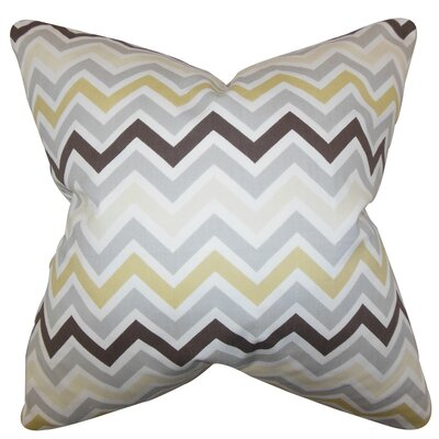 Howel Zigzag Cotton Throw Pillow Color: Gray, Size: 18 x 18