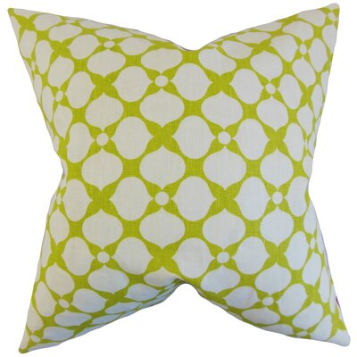 Qiturah Geometric Linen Throw Pillow Color: Pear, Size: 18 x 18