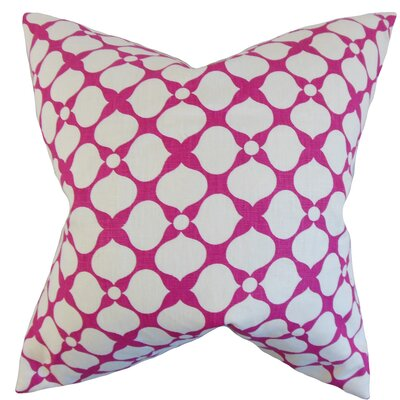 Qiturah Geometric Linen Throw Pillow Color: Raspberry, Size: 18 x 18