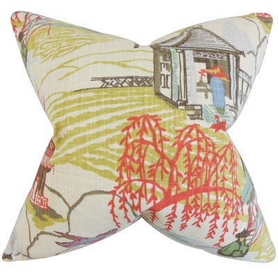 Praxis Cotton Throw Pillow Color: Coral, Size: 18 x 18