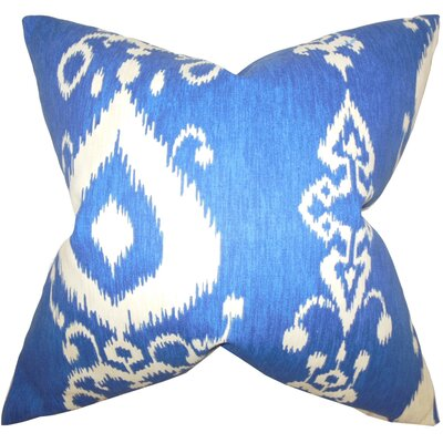 Katti Ikat Cotton Throw Pillow Color: Chambray, Size: 18 x 18