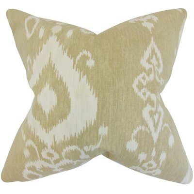 Katti Ikat Cotton Throw Pillow Color: Jute, Size: 18 x 18